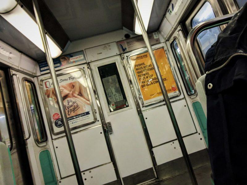 Metro interior - public transportation in Paris